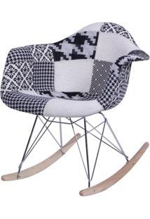 Cadeira Eames Com Braco Base Balanco Patchwork Black - 36369 - Sun House