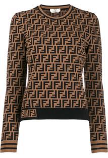 Fendi Suéter Monogramado - Marrom
