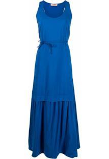 Twinset Vestido Sem Mangas Com Pregas - Azul