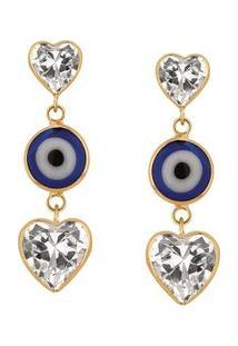 Brinco Olho Grego Corações Em Ouro 18K - Unissex-Azul