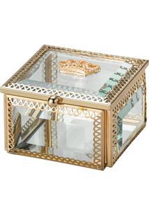 Porta Joias Coroa- Incolor & Dourado- 5X5X8Cm- Llyor