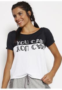 """Blusa """"You Can"""" Em Micro Furos- Branca & Preta- Patrpatra"""