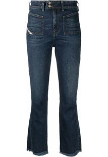 Diesel Calça Jeans Flare D-Earlie Cintura Média - Azul