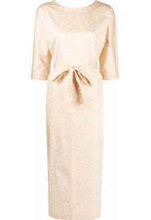 12 Storeez Vestido Com Cinto E Estampa De Poás - Neutro