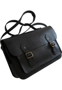 Bolsa Line Store Leather Satchel Grande Couro Preta