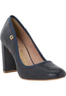 Sapato Tradicional Texturizado Com Tag Lateral- Azul Marcarmen Steffens
