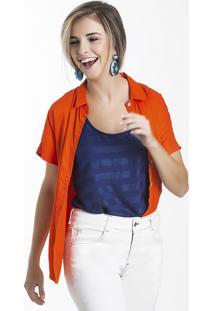 Camisa Feminina Em Tecido De Viscose Com Toque Acetinado Folha