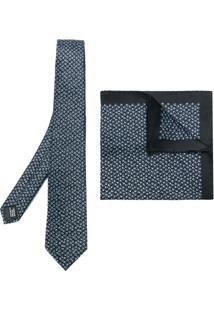 Lanvin Conjunto Duas Peças Gravata E Lenço De Bolso De Seda - Azul