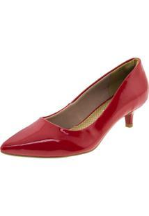 Sapato Feminino Salto Baixo Vermelho Via Marte - 184201