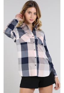 Camisa Feminina Longa Estampada Xadrez Com Bolsos Manga Longa Rosê