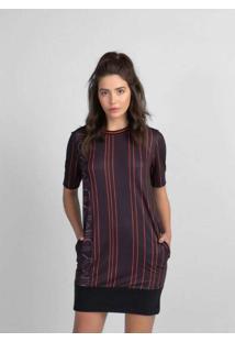 Vestido T-Shirt Dress Com Amarraçao Manga Preto Ve