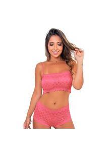 Conjunto De Caleçon E Sutiã Top Sigh Renda Rosa Multicolorido