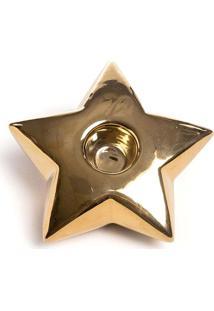 Porta Vela Estrela Em Cerã¢Mica- Dourado- 3X10X10Cm