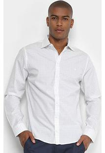 Camisa Forum Manga Longa Slim Fit Quadriculada Masculina - Masculino-Preto+Branco