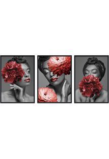 Quadro 60X120Cm Bessie Mulher Com Flores Vermelhas Moldura Preta Com Vidro
