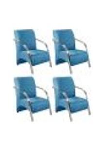 Conjunto De 4 Poltronas Sevilha Decorativa Braço Alumínio Cadeira Para Recepção, Sala Estar Tv Espera, Escritório - Veludo Azul