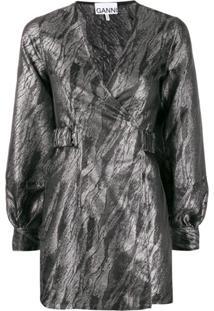 Ganni Metallic Sheen Dress - Preto