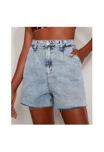 Bermuda Jeans Feminina Cintura Super Alta Marmorizada Com Barra A Fio Azul Claro