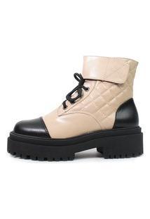Bota Tratorada Damannu Shoes Sasha Bege Com Preto