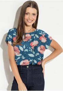 Blusa Soltinha Floral Rosê Mangas Curtas