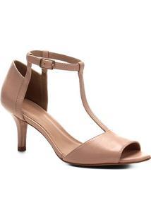 Sandália Couro Shoestock Salto Fino Médio Tira Feminina - Feminino-Nude