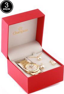 Kit 3 Pçs Relógio Champion Cn26805A Dourado