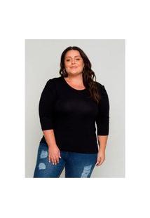 Blusa Plus Size Feminina Kaliska Com Detalhe Costas Preta