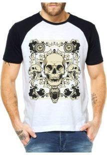 Camiseta Criativa Urbana Raglan Caveiras Malígnas - Masculino