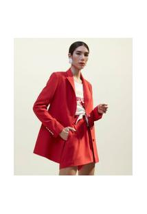 Blazer Alongado Em Alfaiataria Lisa Com Abotoamento Triplo | A-Collection | Vermelho | 44