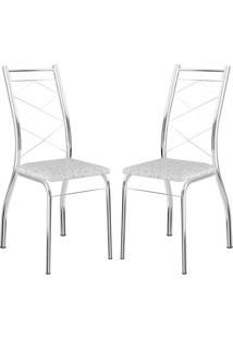 Cadeira 1710 Cromada 02 Unidades Fantasia Branco Carraro