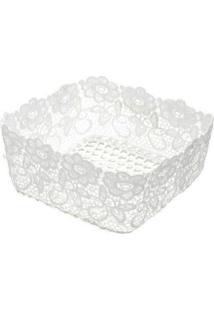 Cesta Plástica Lyor Impermeável Crochê Branca 16X16X9Cm - 28742