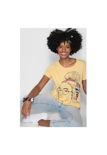 Camiseta Lez A Lez Estampada Amarela