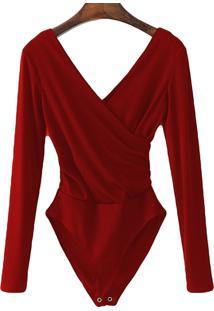 Body Transpassado Luxo Blusa Camisa Manga Longa Frozini Festa Luxo Vermelho - Vermelho - Feminino - Viscose - Dafiti
