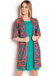 Kimono Étnico Com Mangas Amplas
