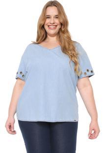 Blusa Jeans Cativa Plus Ilhoses Azul