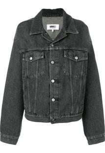 Mm6 Maison Margiela Jaqueta Jeans Oversized - Preto