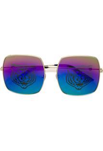 Gucci Eyewear Óculos De Sol Oversized - Dourado