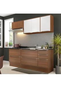 Cozinha Compacta 7 Portas 4 Gavetas 5459R Nogueira/Branco - Multimóveis