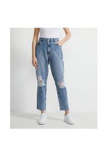Calça Mom Jeans Lisa Com Rasgos E Puídos | Blue Steel | Azul | 40