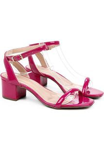 Sandália Via Uno Salto Bloco Bico Quadrado Feminina - Feminino-Pink
