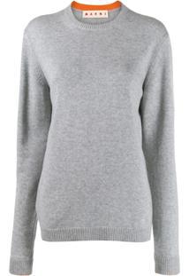 Marni Suéter Decote Careca De Cashmere - Cinza