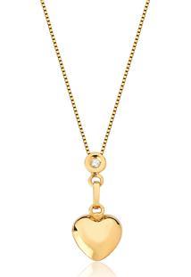 Colar De Ouro 10K Coração Com Ponto De Luz Em Diamante-Coleção Gifts For Love
