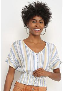 Blusa Lily Fashion Listrada Botões Feminina - Feminino-Amarelo