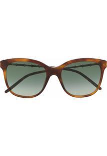 Gucci Eyewear Óculos De Sol Quadrado Com Efeito De Bambu - Marrom