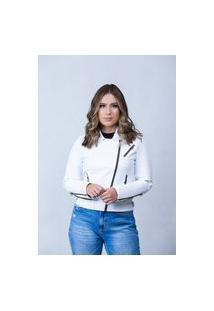 Jaqueta De Couro Parra Couros Feminina Perfecto Paris Branco