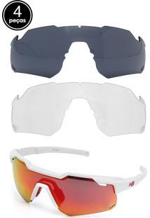 Kit 4 Pçs Óculos De Sol Hb Shield Branco/Vermelho