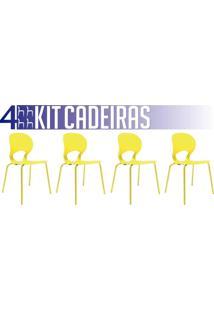 Kit 4 Cadeiras Eclipse Amarela