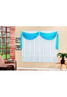 Cortina Decorativa Para Quarto Ou Sala Azul 4M
