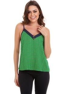 Blusa Kinara Alcinha Xadrez Bicolor Feminino - Feminino-Verde