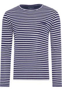 Camiseta Masculina Listrada - Azul E Branco